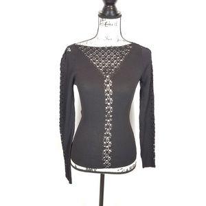 Cache' Medium Black Embroidered Top